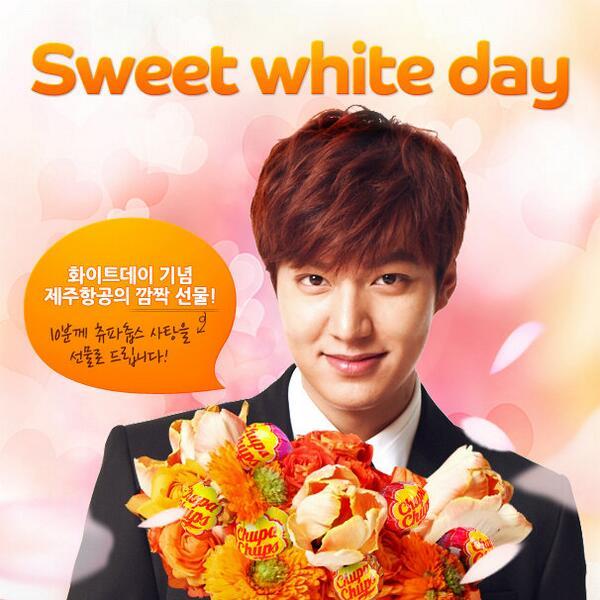 Foto publicitária divulgada pela empresa Jeju Air, com o ator Lee Min-Ho no White Day. Foto: Jeju Air
