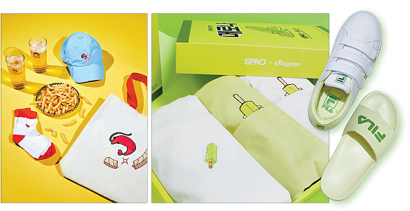 Produtos da 8seconds com estampa do Saewookkang e camisetas da SPAO e chinelos da FIla com a a marca do Melona. Foto: Nongshim, Binggrae