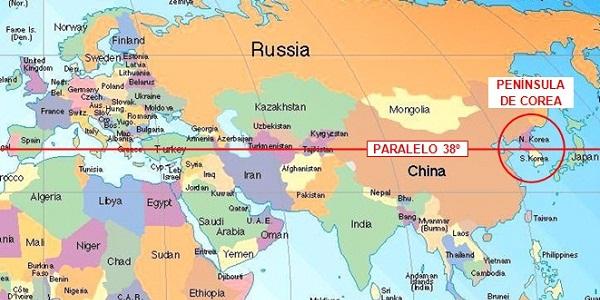 Nesse foto conseguimos ver o Paralelo 38 N em todo o planeta Terra. Fonte: Google.