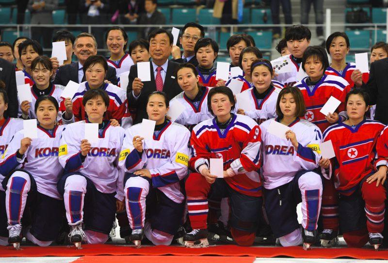 Time conjunto das seleções femininas de hóquei no gelo da Coreia do Sul e Coreia do Norte. Foto: InsideTheGames